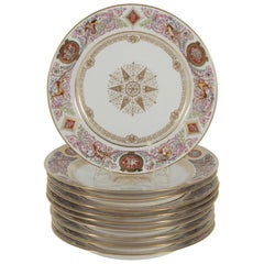 Set of Ten Sevres Royal Service Chateau de Fontainebleau Plates