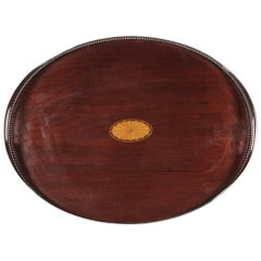 English Silver and Mahogany Inlaid Handled Serving Tray