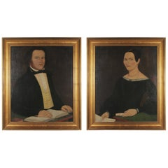 Pair of American Primitive Portraits, circa 1860