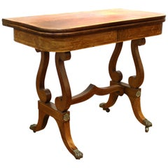 Biedermeier Games Table with Mahogany Veneered Lyre Base on Scroll Feet