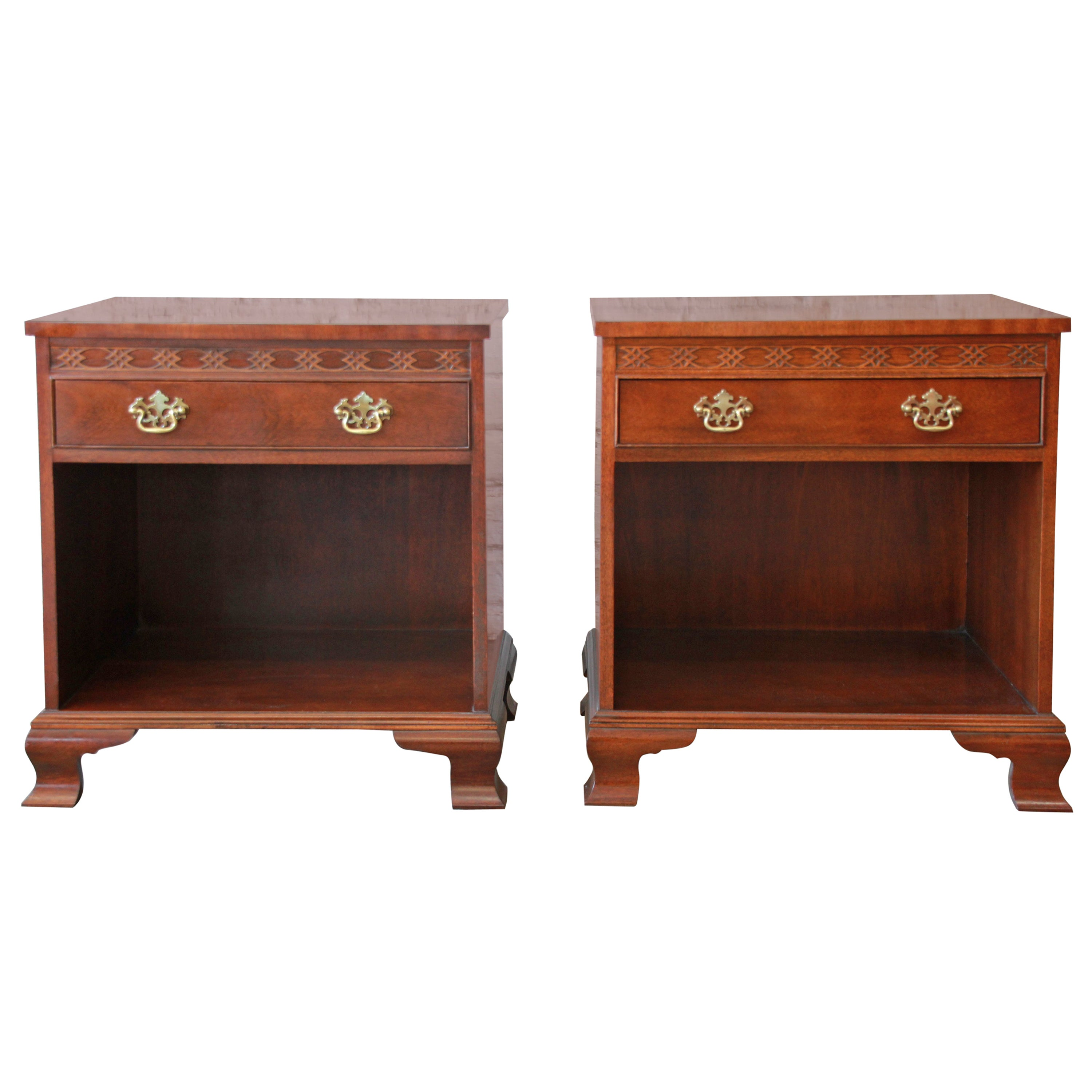 Baker furniture chippendale style mahogany nightstands pair for sale at 1stdibs