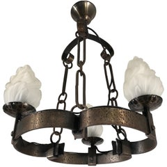 Arts & Crafts Hand-Hammered Wrought Iron Castle or Wine Cellar Pendant Light
