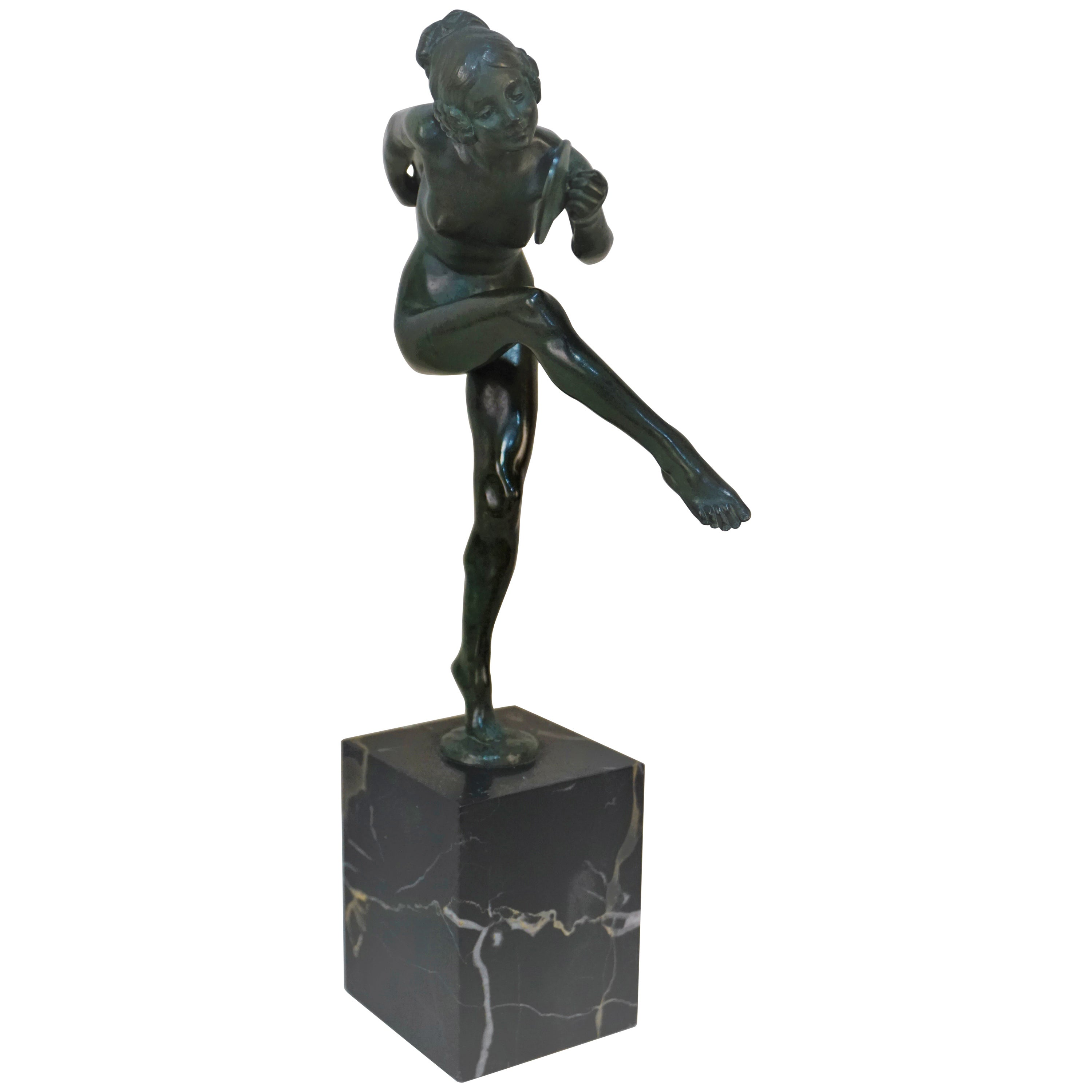 Bronze Figure of a Nude Dancer by Lucien Charles Edouard Alliot
