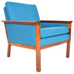 Danish Modern Cerulean Blue Lounge Chair in Brazilian Rosewood