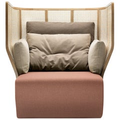 Chistera Lounge Chair, Contemporary Woven Cane Lounge Chair