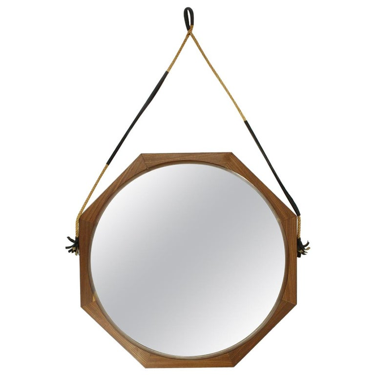Italian Teak Frame Mirror, 1960s