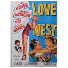 """Marilyn Monroe """"Love Nest"""" 1951 Original Linen Backed Theatrical Poster"""