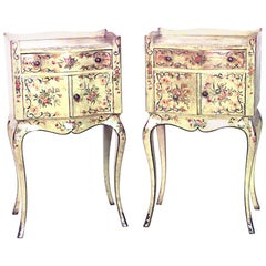 Pair of Italian Venetian Style Painted with Floral Bedside Tables