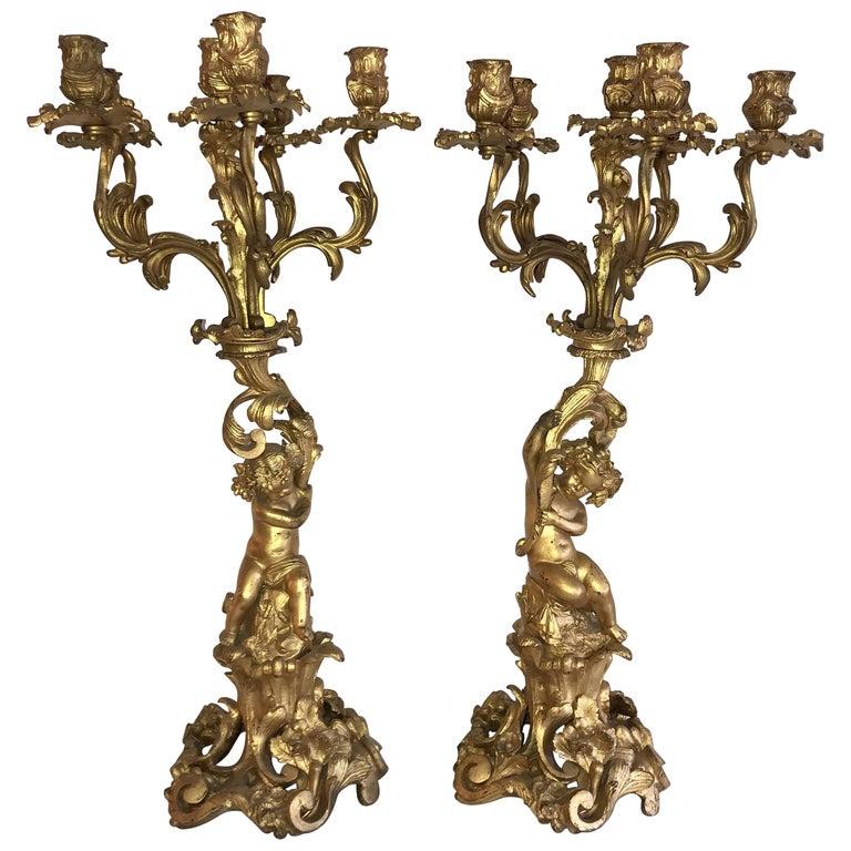 Wonderful Pair of French Dore Bronze Cherub Putti Figural Louis XVI Candelabras