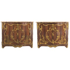 Pair of French Louis XV (Late 19th Cent) Rosewood Two Door Commodes