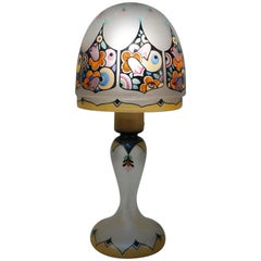 English Hand-Painted Glass Art Deco Table Lamp