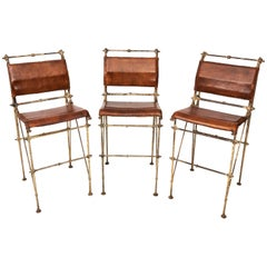 Set of Three Iron and Leather Bar Stools