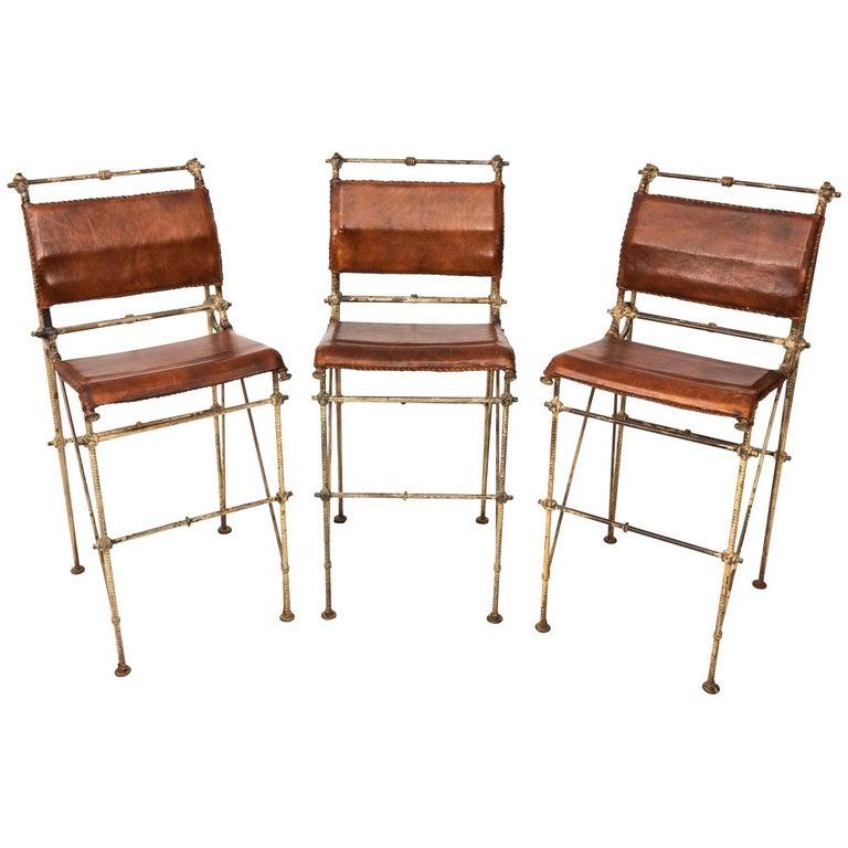 Set of Three Iron and Leather Bar Stools