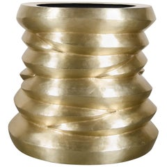 Jie Dining Table Base - Brass by Robert Kuo, Hand Repoussé, Limited Edition