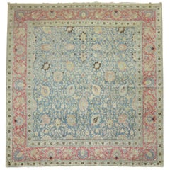 Square Antique Persian Tabriz Rug in Blues and Pink