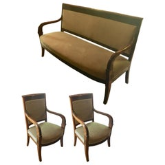 Danish Empire Armchairs and Settee Salon Suite
