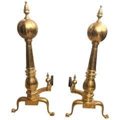 Pair of Large Georgian Style Brass Andirons