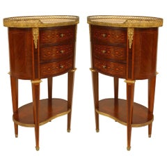 Pair of French Louis XVI Style 19th Century Oval Form Small Bedside Commodes
