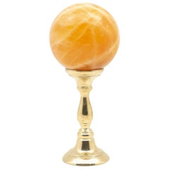 Brass-Mounted Orange Calcite Sphere Medium