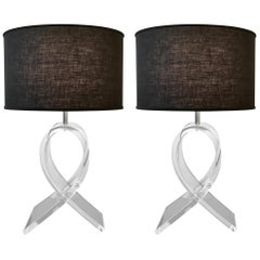 Pair of Lucite Ribbon Table Lamps