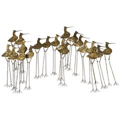 Jere Sandpipers Brass Wall Sculpture, circa 1968