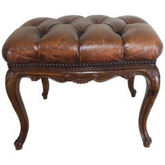 19th Century French Walnut Leather Tufted Bench