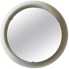 Rare Illuminated Metal Mirror by Arne Jacobsen for Louis Poulsen