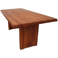 Pierre Chapo T14C Dining Table in Solid Elm, France, 1960s