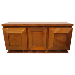 French Late Art Deco Burl Walnut Three-Door Credenza or Buffet, Andre Sornay
