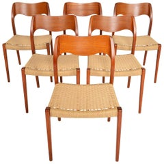 Set of Six Moller Model 71 Teak + Paper Cord Dining Chairs