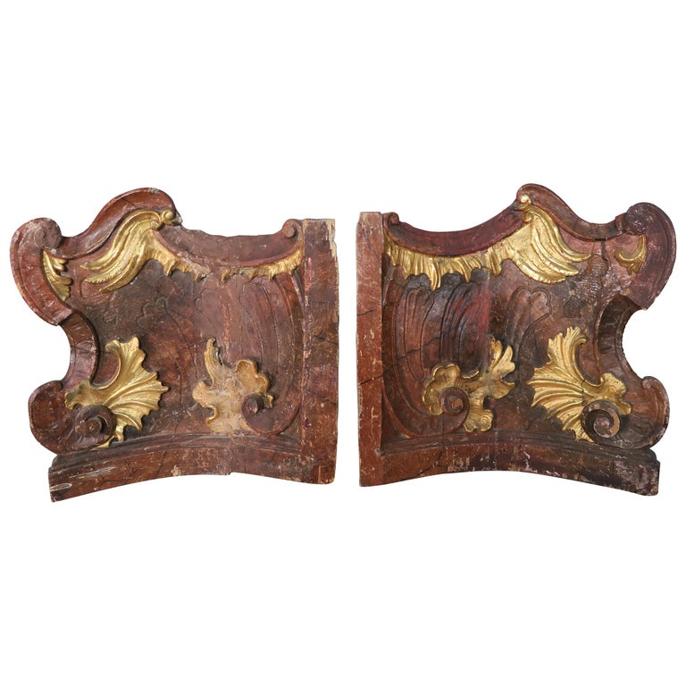 19th Century Italian Painted and Parcel-Gilt Architectural Fragments For Sale