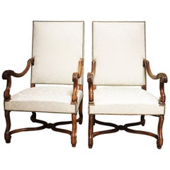 Pair of French Carved Walnut Louis XIV Style Fauteuils