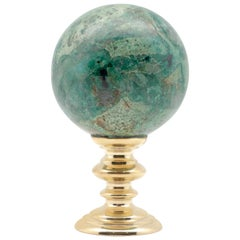 Brass Mounted Chrysocolla Sphere Small