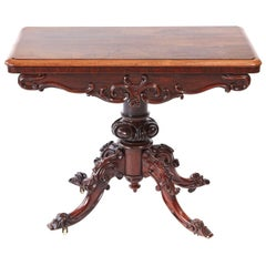 Quality Victorian Carved Rosewood Card Table