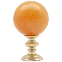 Brass Mounted Orange Calcite Sphere Small