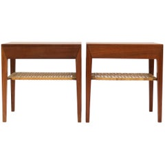 Severin Hansen Jr. for Haslev Side Tables in Teak and Cane