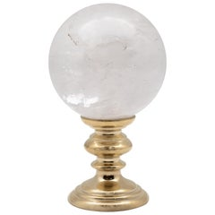 Brass-Mounted Rock Crystal Sphere Small