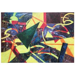 Massive Abstract Painting on Canvas Titled Neon Nightlife