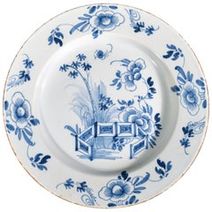 English Liverpool Delftware Underglaze Blue Chinoiserie Dish, circa 1760