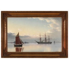 "Signed 19th Century Danish Evening Seascape of the Frigate ""Jylland"""