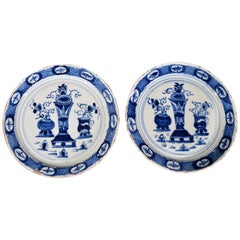 Dutch Delft Polychrome Chinoiserie Plates, a Pair, circa 1760