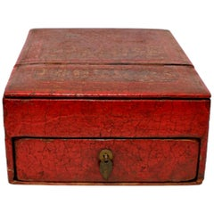 Chinese Antique Jewelry Box, Wood and Leather