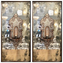Pair of Antique Syrian Mirrored Panels, circa 1880