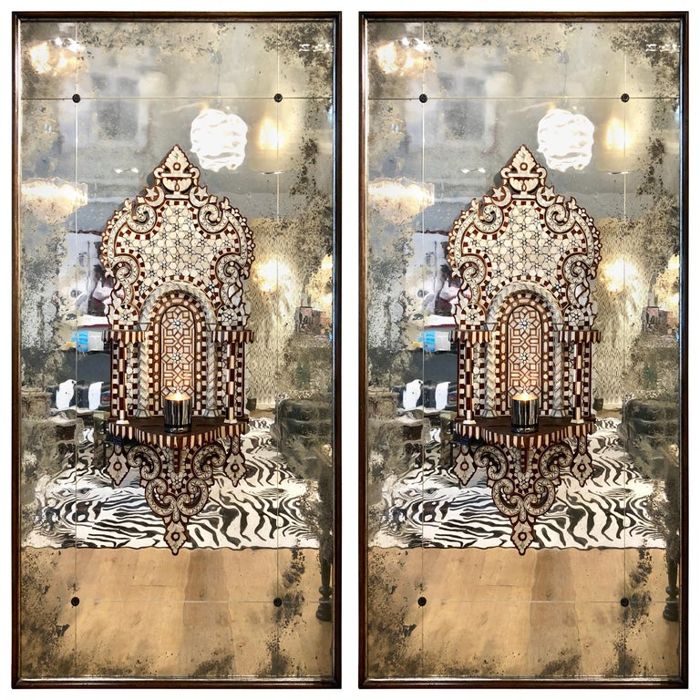 Pair of Antique Syrian Mirrored Panels, circa 1880 For Sale