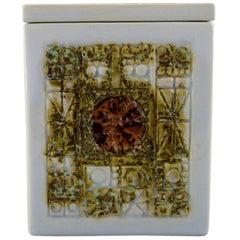 """Tenera"" Lidded Jar in Faience by Kari Christensen for Aluminia, 1960s"