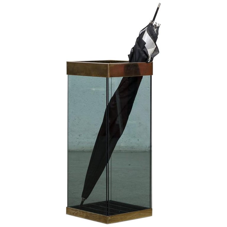 1970s MOD Smoked Glass and Brass Umbrella Stand