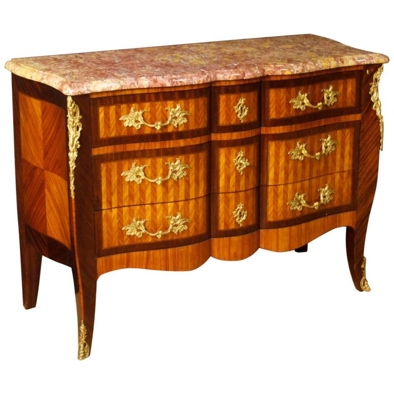 French Inlaid Wood Chest of Drawers with Marble Top from 20th Century