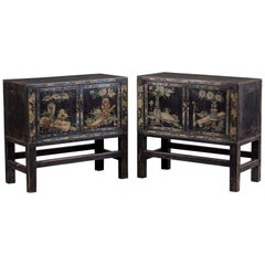 Pair Vintage Chinese Painted Cabinets on Stands circa 1940