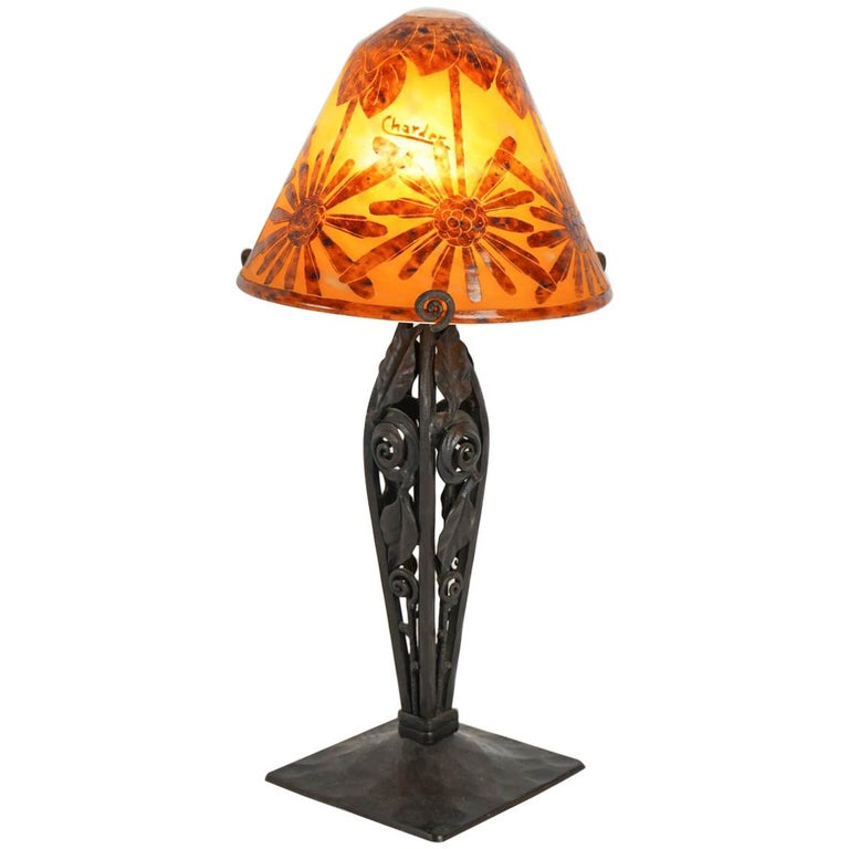"Extremely rare one of a Kind Table Lamp by ""Le Verre Francais"", France, 1920s"
