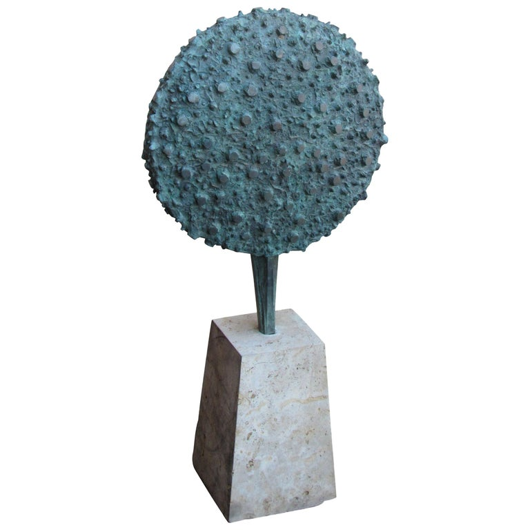 Patinated Bronze Disc Sculpture in the Style of Harry Bertoia, circa 1960s-1970s
